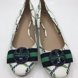 TORY BURCH White Leather Ballerina Size 8.5